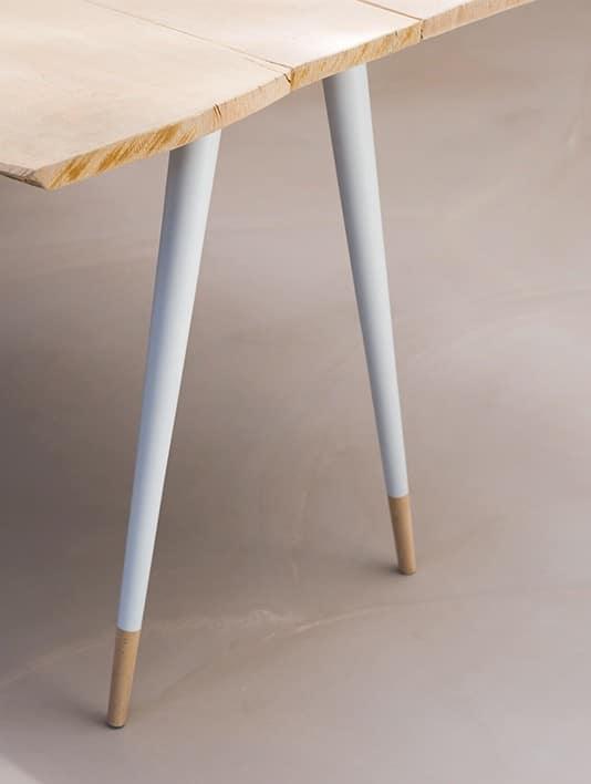 pietement scandinave de table de salon bois blanc