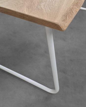 Pied table double en tube metal