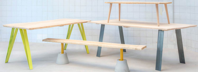 pied de table en metal et bois