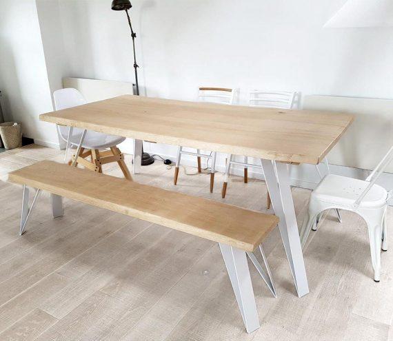 4pieds metal blanc pour table bois lourde