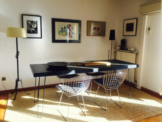 table design pied metal noir en epingle