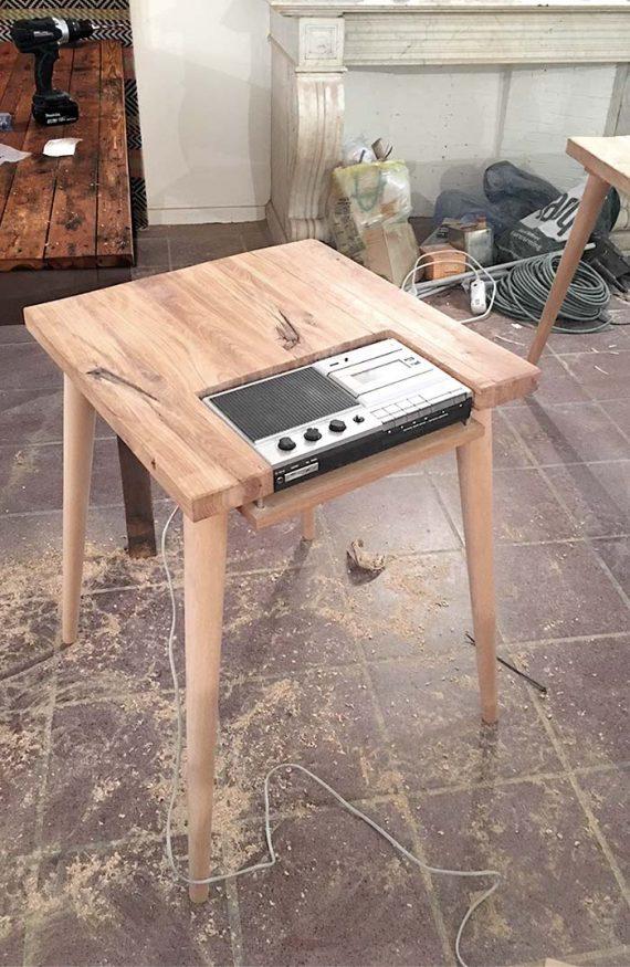 pied en bois STIC pour meuble radio