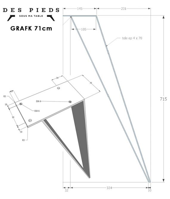 Plan du pied de table GRAFK