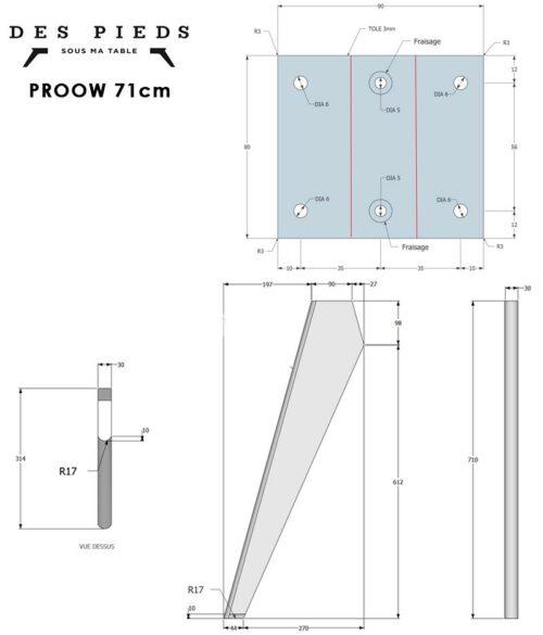 Plan pied de table et bureau Prouvé PROOW