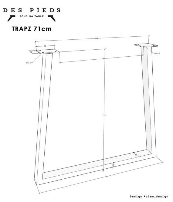 Pied de table en trapèze TRAPZ