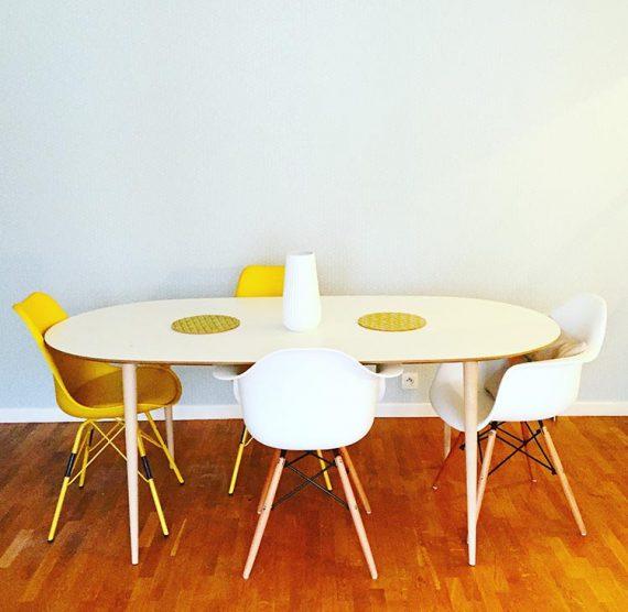 4 pieds en bois incliné pour table a manger ou bureau